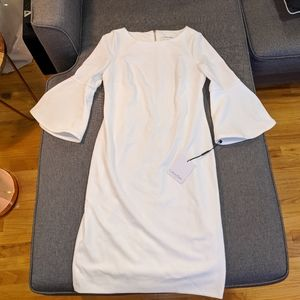 Calvin Klein White Shift Dress with bell sleeves
